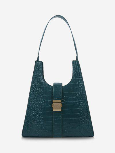 Buckle Embellished Trapezoid Shoulder Bag - Greenish Blue