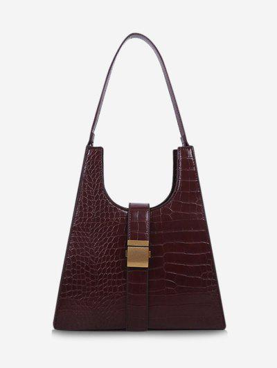 Buckle Embellished Trapezoid Shoulder Bag - Red Wine