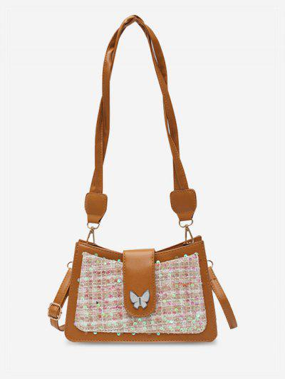PU Butterfly Sequins Shoulder Bag - Brown