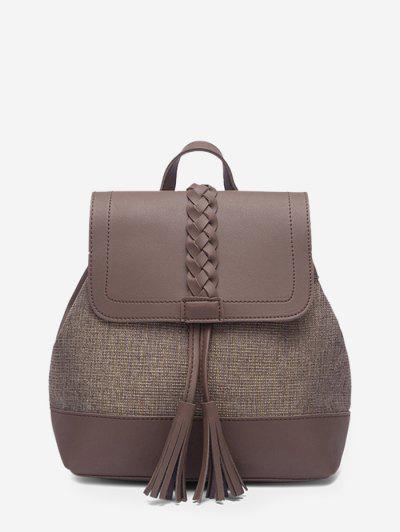 Braided Tassel Two Tone Backpack - Brown Bear