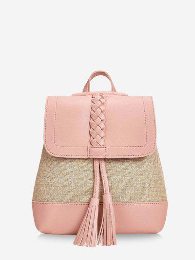 Braided Tassel Two Tone Backpack - Light Pink