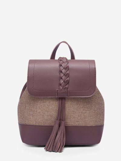 Braided Tassel Two Tone Backpack - Dull Purple