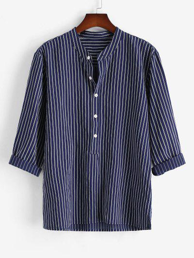 Half Button Striped Print Shirt - Deep Blue L