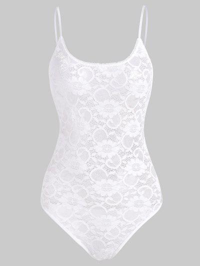 Snap Crotch Lace Teddy - White L