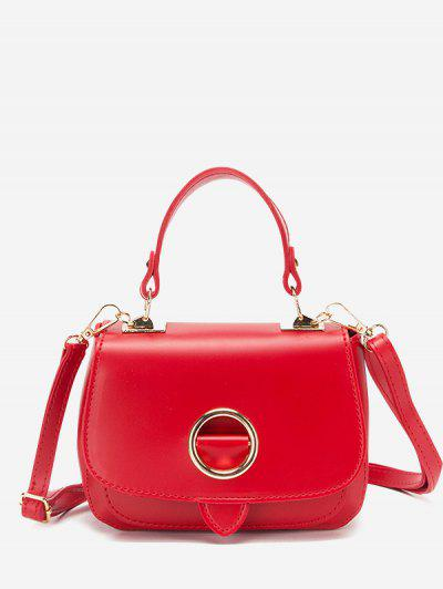 Solid O-Ring Embellished Top Handle Crossbody Bag - Red