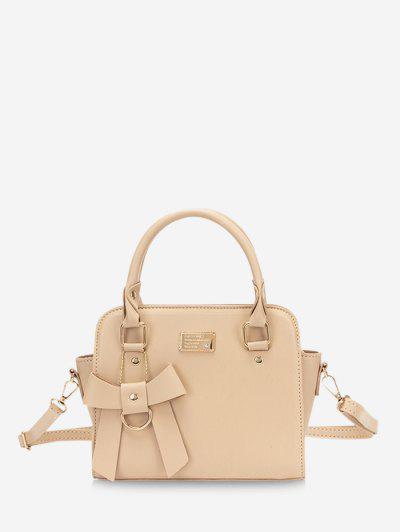 Solid Bowknot Embellished Buckle Strap Shoulder Bag - Light Coffee
