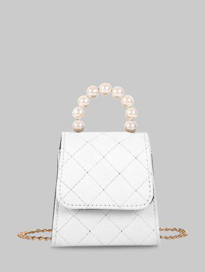 Faux Pearl Quilted Flap Chain Mini Crossbody Bag - Milk White