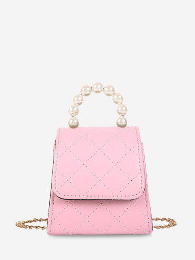 Faux Pearl Quilted Flap Chain Mini Crossbody Bag - Pig Pink