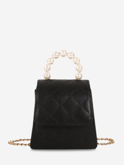 Faux Pearl Quilted Flap Chain Mini Crossbody Bag - Black