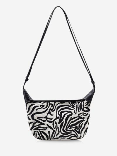 Zebra Stripes Pattern Shoulder Bag - Milk White