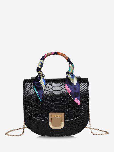 Mini Bolsa De Bandolera Con Textura Con Cadenas - Negro