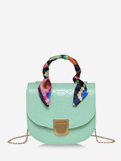 Scarf-Wrap Handle Textured Chain Mini Crossbody Bag - Light Green