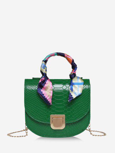 Scarf-Wrap Handle Textured Chain Mini Crossbody Bag - Deep Green