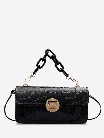 Retro Stone Grain Chunky Chain Mini Crossbody Bag - Black