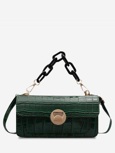 Retro Stone Grain Chunky Chain Mini Crossbody Bag - Deep Green