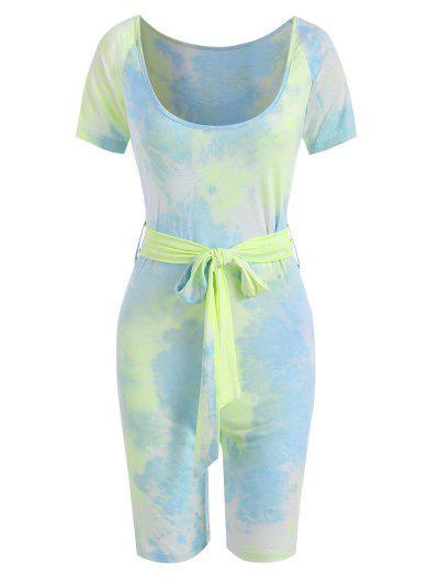Tie Dye Scoop Neck Belted Cycling Romper - Light Blue M