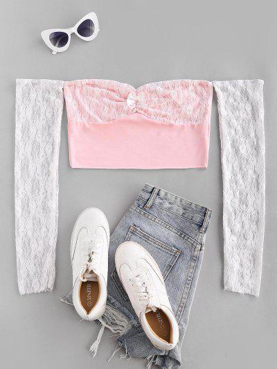 Off The Shoulder Lace Panel Raw Hem Crop Top - Light Pink L