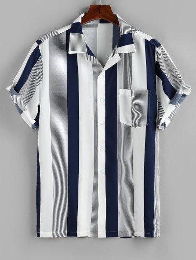 ZAFUL Button Up Striped Print Pocket Shirt - Deep Blue L