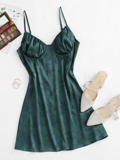 ZAFUL Jacquard Ruched Bust Satin Mini Cami Dress - Deep Green S