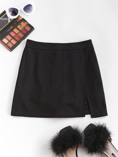 Slit Skirt With Shorts Underneath - Black M