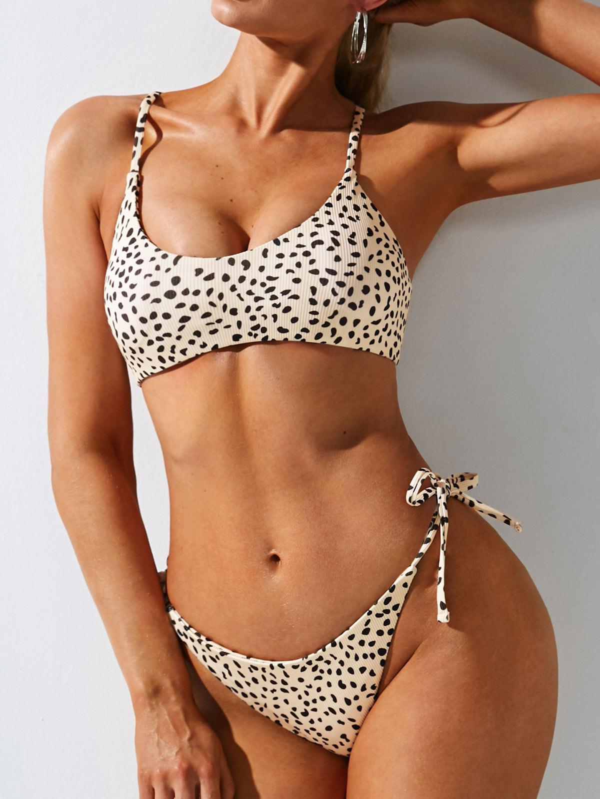 ZAFUL Leopard Ribbed Lace-up Tie Tanga Bikini Swimwear