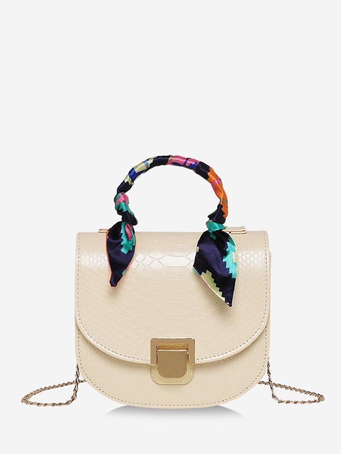 Scarf-Wrap Handle Textured Chain Mini Crossbody Bag