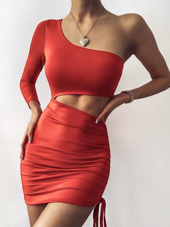 best One Shoulder Cutout Cinched Bodycon Club Dress - RED L