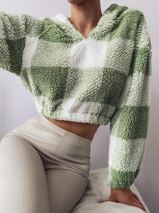 ladies ZAFUL Colorblock Short Teddy Hoodie - LIGHT GREEN S