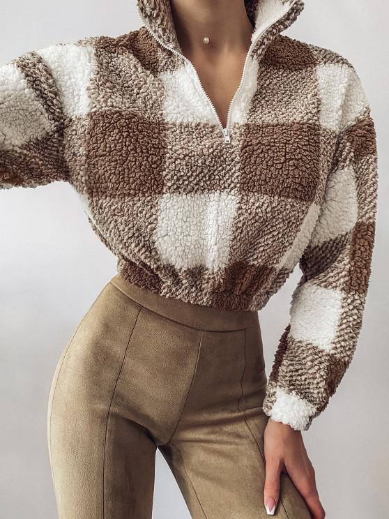 womens ZAFUL Half Zip Plaid Teddy Sweatshirt - COFFEE L