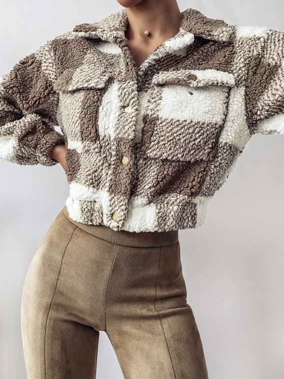 unique ZAFUL Plaid Drop Shoulder Pocket Teddy Coat - KHAKI S