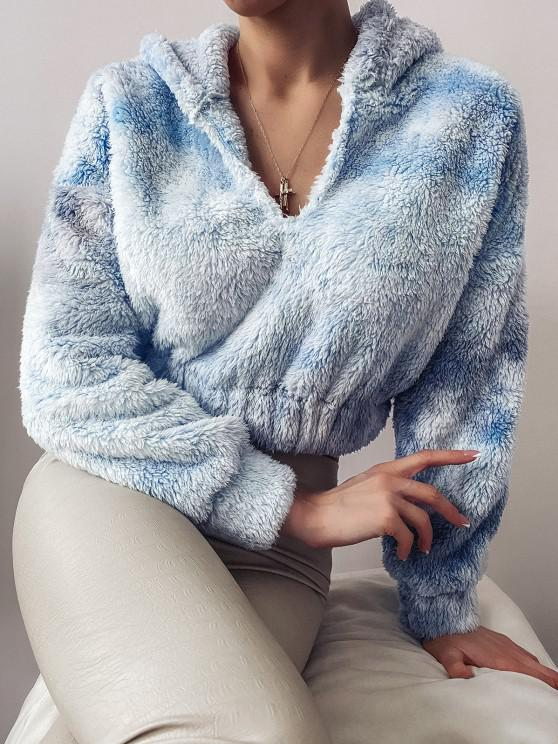 ZAFUL Drop Shoulder Fuzzy Cropped Hoodie - أزرق فاتح L