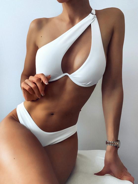 lady ZAFUL One Shoulder Underwire Cutout High Cut Bikini Swimwear - WHITE S