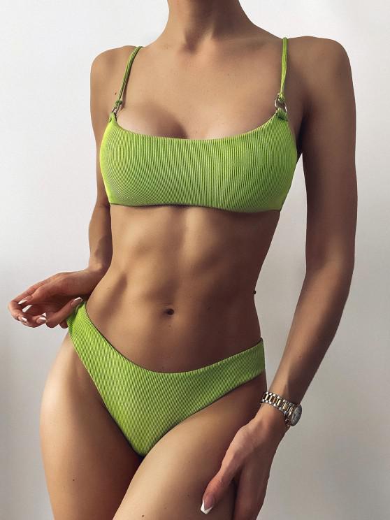best ZAFUL Ribbed O Ring Bikini Set - PISTACHIO GREEN S
