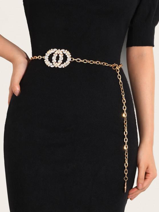Cadeia de Pignente de Cintura Redonda de Diamante Artificial Brilhante - Dourado