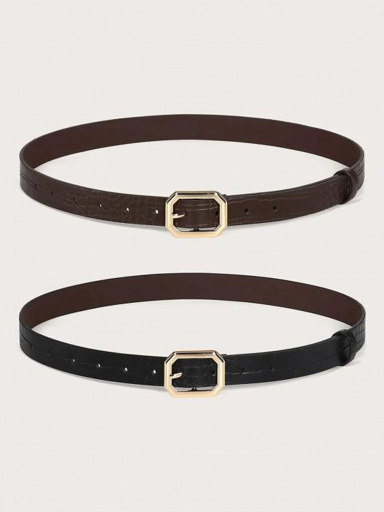 outfit 2Pcs Solid Animal Embossed Octagon Buckle Belt Set - GOLDEN