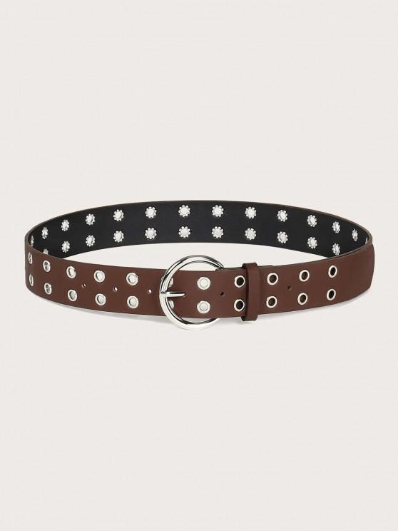 shop Two Row Grommet Buckle Belt - SEPIA