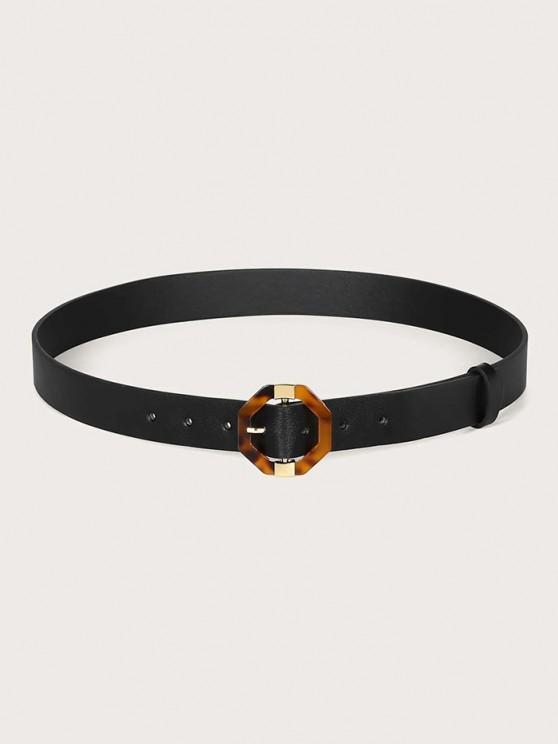 shops Geometric Pin Buckle Belt - BLACK