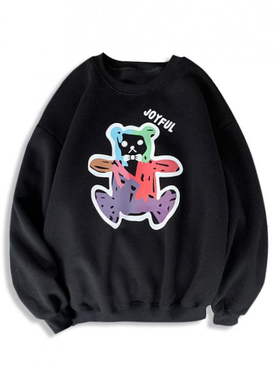 Cartoon Bear Print Rib-knit Trim Sweatshirt - أسود M