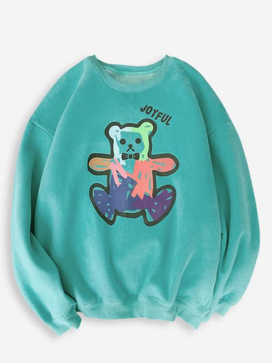 Cartoon Bear Print Rib-knit Trim Sweatshirt - فيروز M