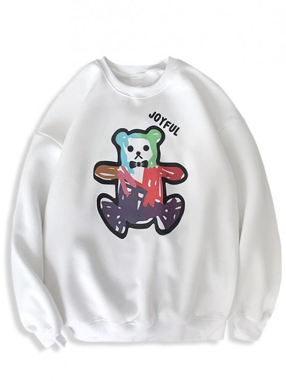 Cartoon Bären Druck Rippen Strick Trimm Sweatshirt - Weiß 2XL