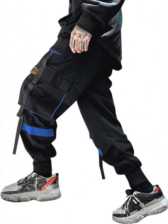 outfits Drawstring Applique Detail Contrast Cargo Pants - BLUE S