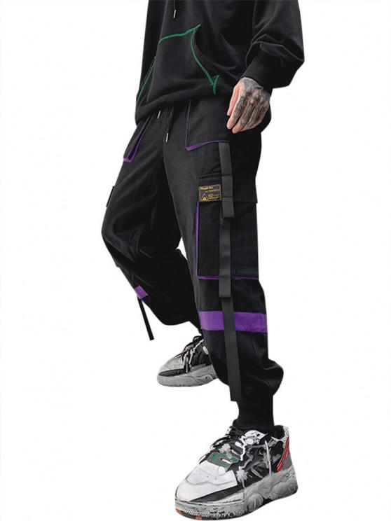 women's Drawstring Applique Detail Contrast Cargo Pants - PURPLE L