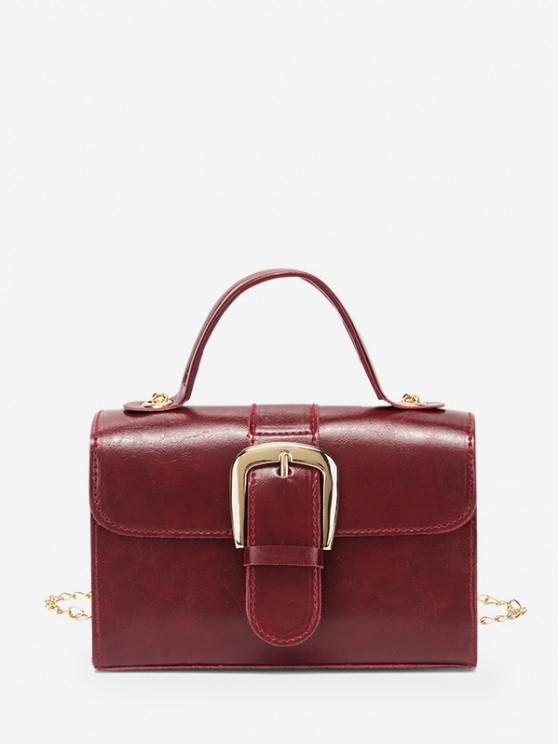 fashion Retro Chain Buckle Crossbody Bag - RED WINE