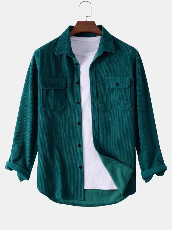 women Button Up Double Pockets Corduroy Shirt - DEEP GREEN 2XL