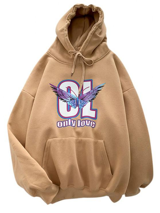 Letter Butterfly Print Front Pocket Graphic Hoodie - ضوء الكاكي 2XL