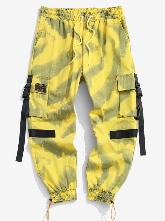 women Tie Dye Print Drawstring Cargo Pants - YELLOW L