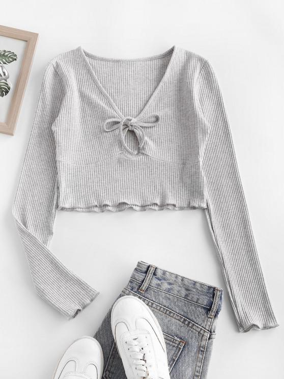 womens Rib-knit Lettuce Trim Marled Keyhole Baby Tee - LIGHT GRAY M