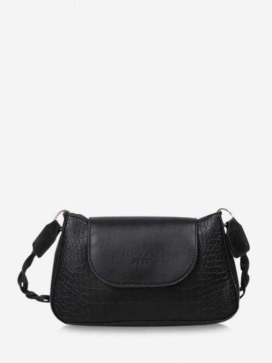 chic Embossed Letter Twist Strap Shoulder Bag - BLACK