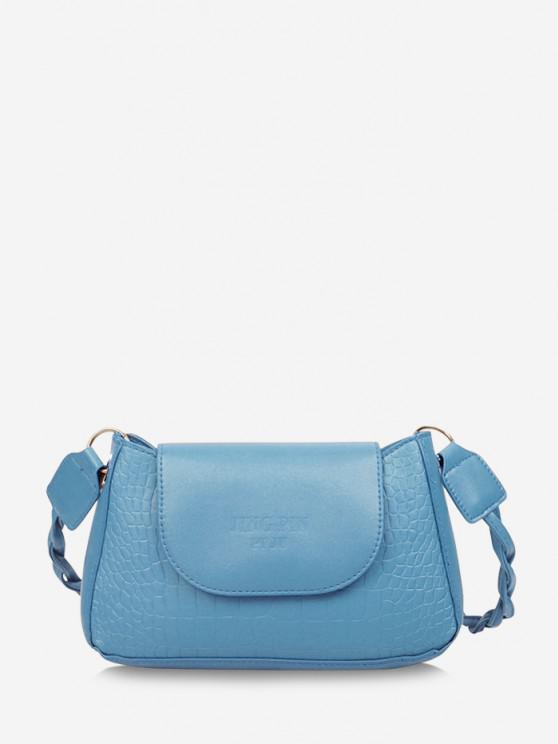 sale Embossed Letter Twist Strap Shoulder Bag - DENIM BLUE
