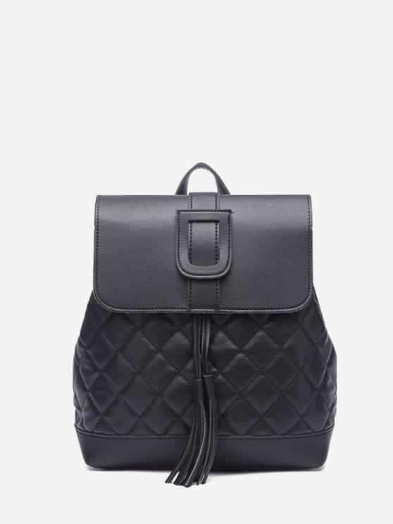chic Tassel Quilted Solid Backpack - BLACK